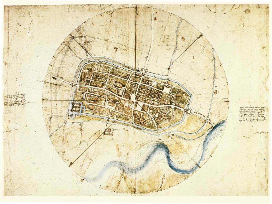 A Plan of Imola - by Leonardo da Vinci