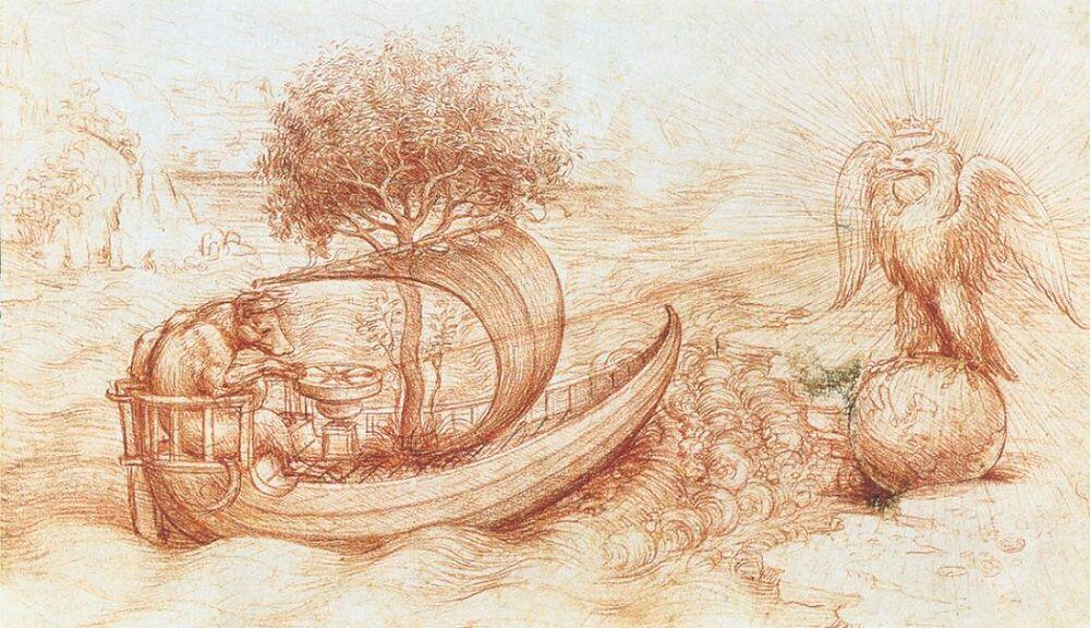 Allegory of Boat, Wolf, and Eagle - by Leonardo da Vinci