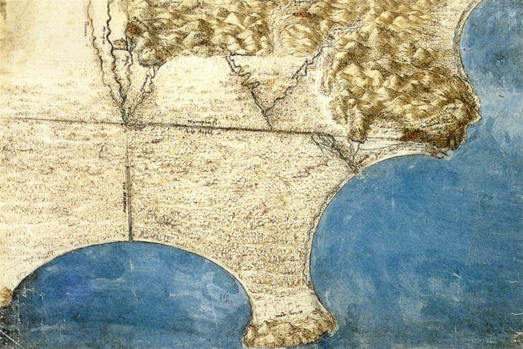 Birds eye view of sea coast - by Leonardo da Vinci