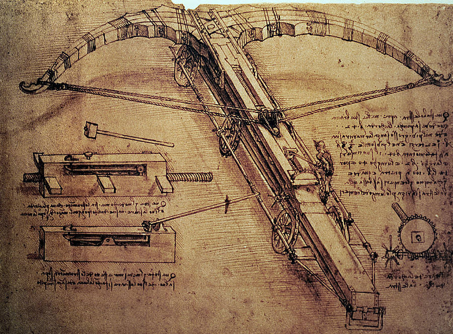 Design for a Giant Crossbow - by Leonardo da Vinci
