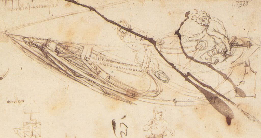 Designs for a boat - by Leonardo da Vinci