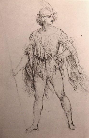 Drawing Of A Fancy Dress Costume By Leonardo Da Vinci