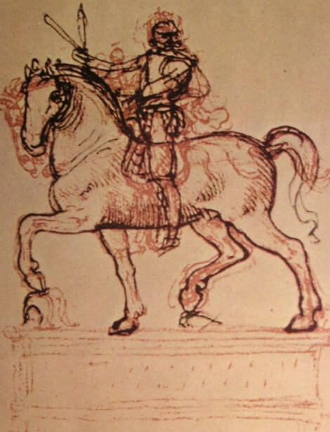 Drawing of an equestrian monument - by Leonardo da Vinci