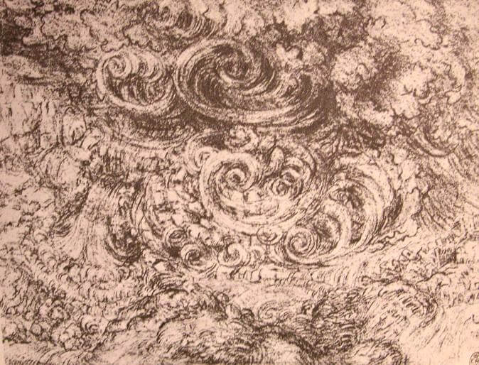 Drawing of an flood - by Leonardo da Vinci