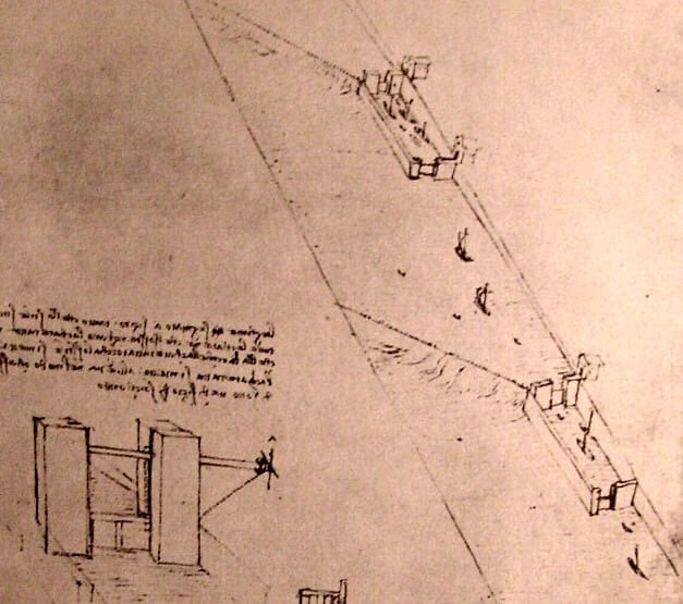 Drawing of locks on a river - by Leonardo da Vinci