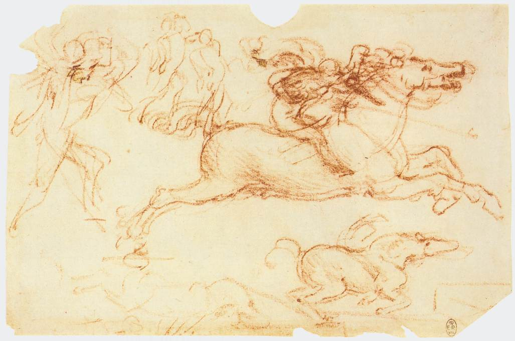 Galloping rider and other figures - by Leonardo da Vinci