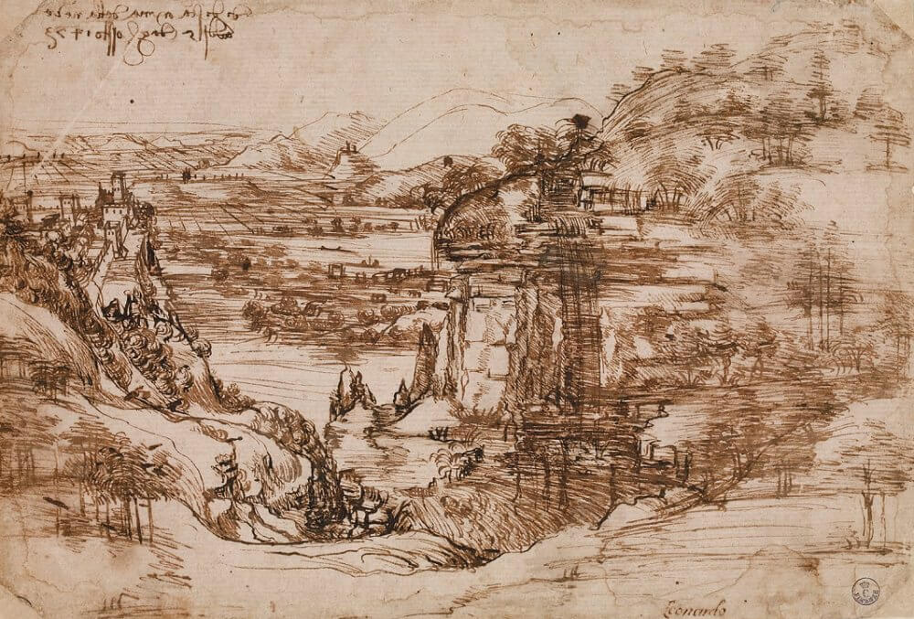 Landscape Drawing for Santa Maria Della Neve - by Leonardo da Vinci