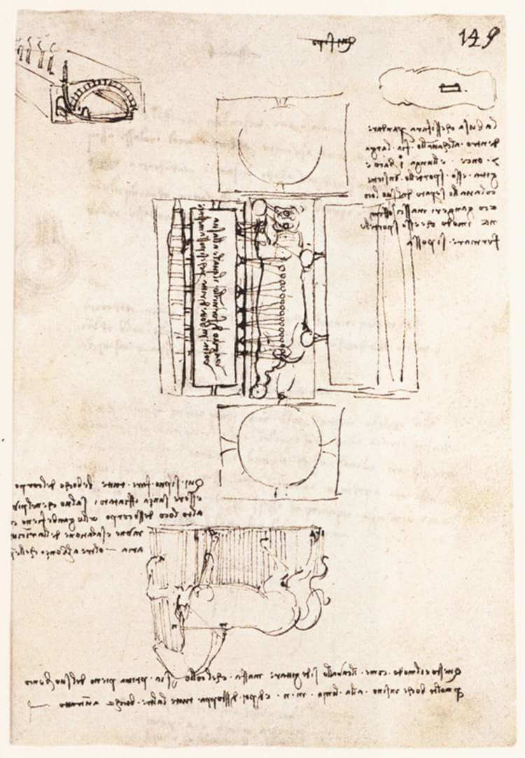 Manuscript page on the sforza monument - by Leonardo da Vinci