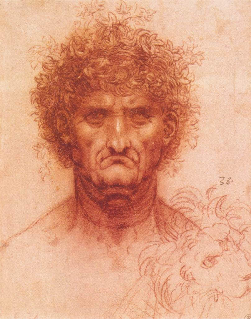 Old man with ivy wreath and lions head - by Leonardo da Vinci