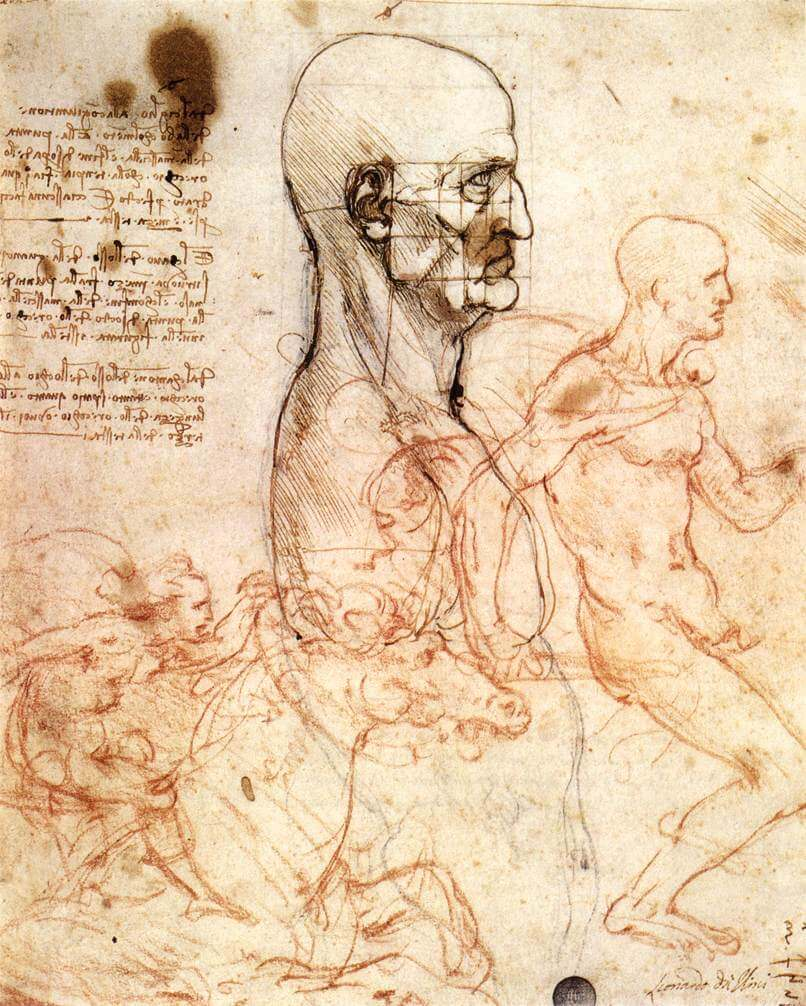 Profile of a man and study of two riders - by Leonardo da Vinci