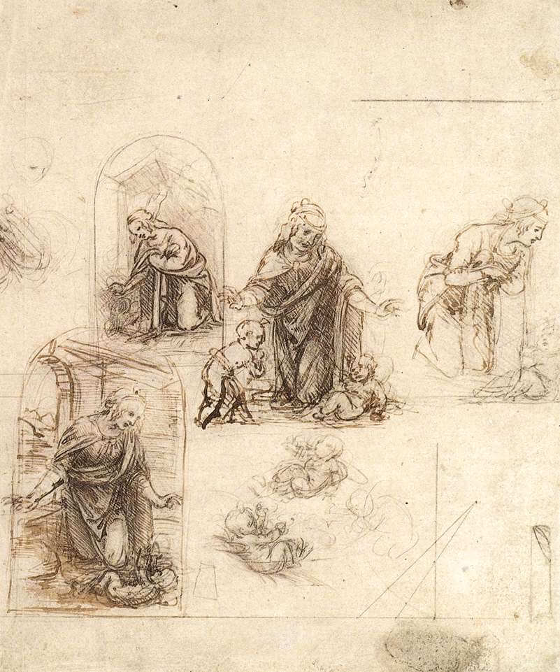 Studies for a nativity - by Leonardo da Vinci
