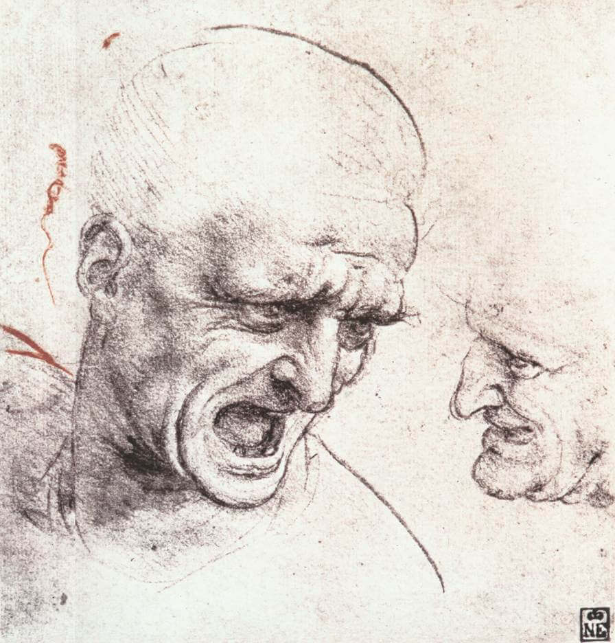 Studies for the Heads of Two Soldiers in the Battle of Anghiari - by Leonardo da Vinci