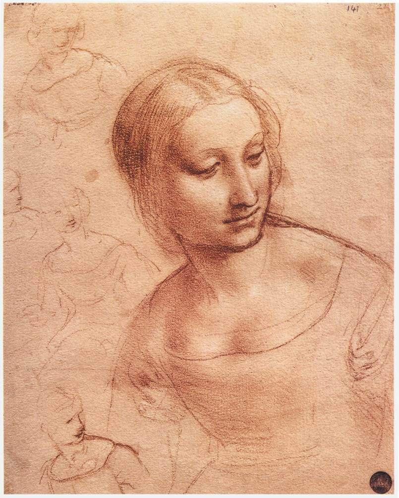 Study for madonna with the yarnwinder - by Leonardo da Vinci