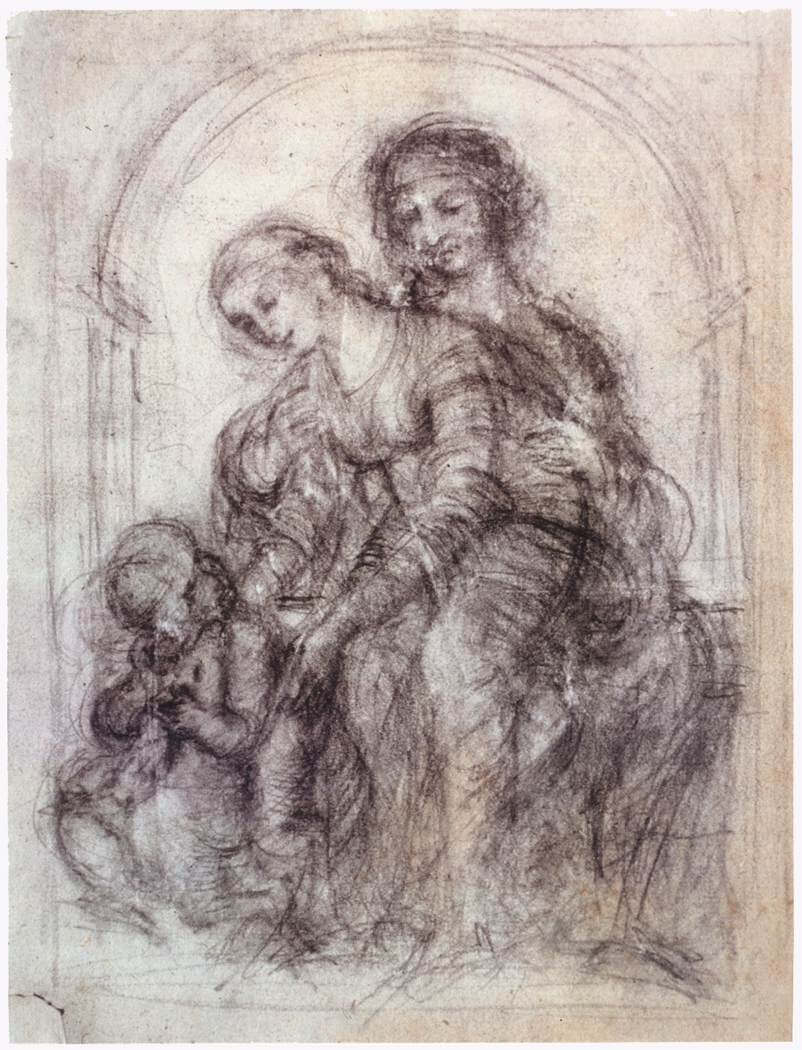 Study for st anne - by Leonardo da Vinci