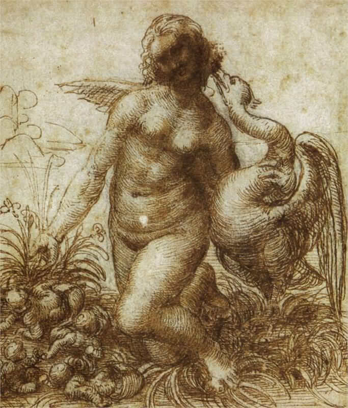 Study for the kneeling leda - by Leonardo da Vinci