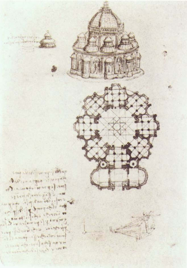 Study of a central church - by Leonardo da Vinci