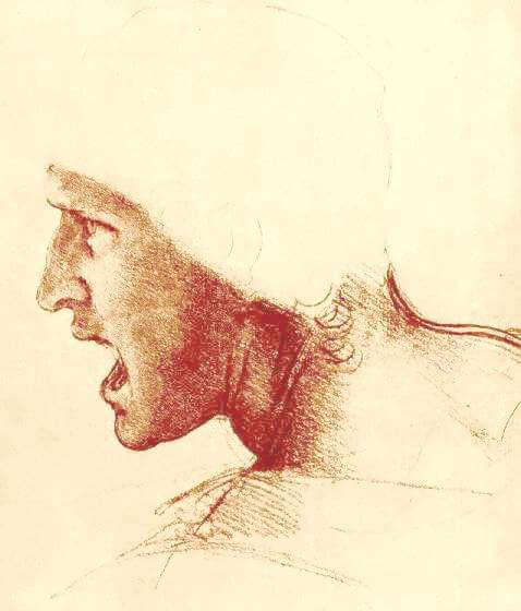 study of a figure for the battle of anghiari by leonardo