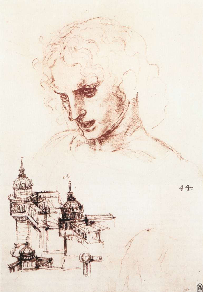 Study of an apostles head and architectural study - by Leonardo da Vinci