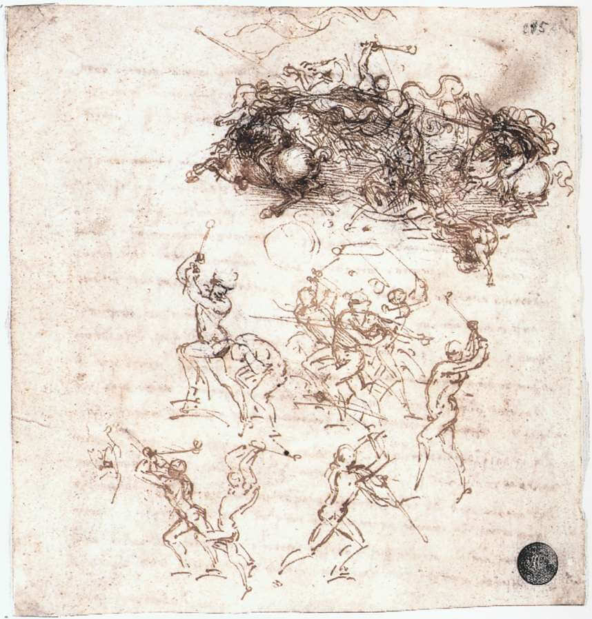 Study of battles on horseback and on foot - by Leonardo da Vinci