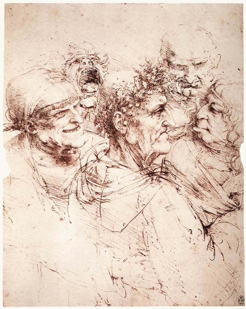 Study of five grotesque heads - by Leonardo da Vinci
