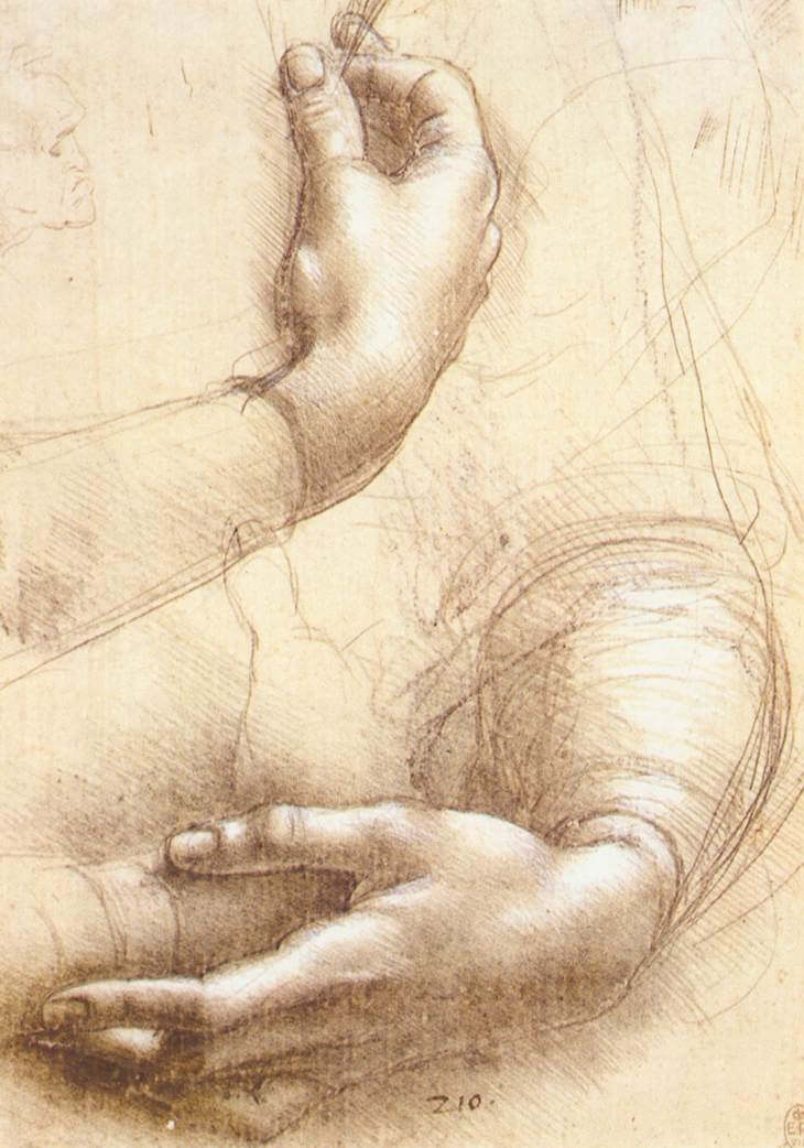 Study of hands - by Leonardo da Vinci