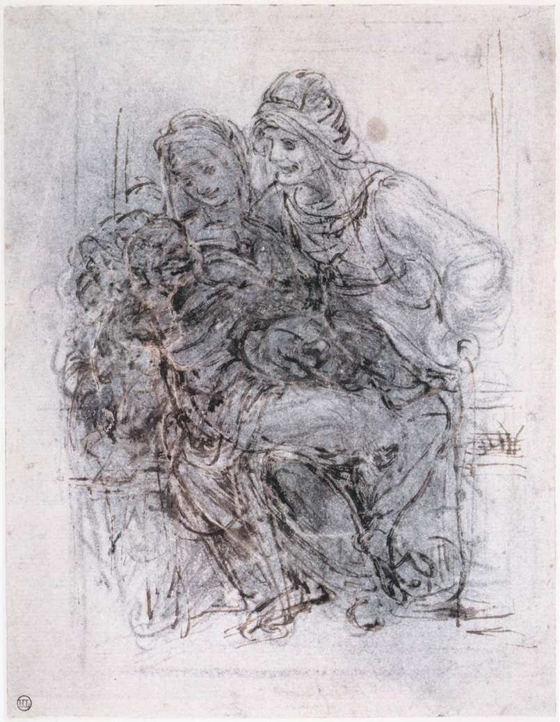 Study of st anne mary and the christ child - by Leonardo da Vinci