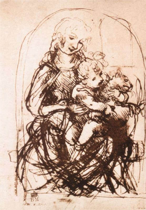 Study of the madonna and child with a cat - by Leonardo da Vinci