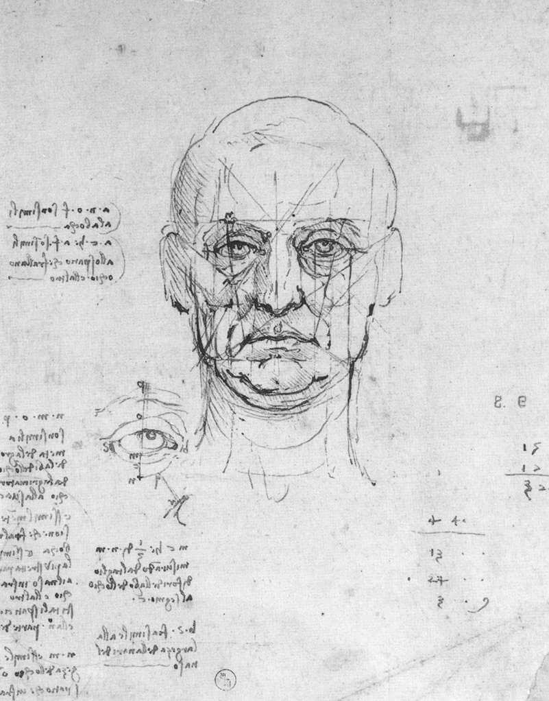 Estudio de proporciones de cabeza y ojos. Leonardo da Vinci