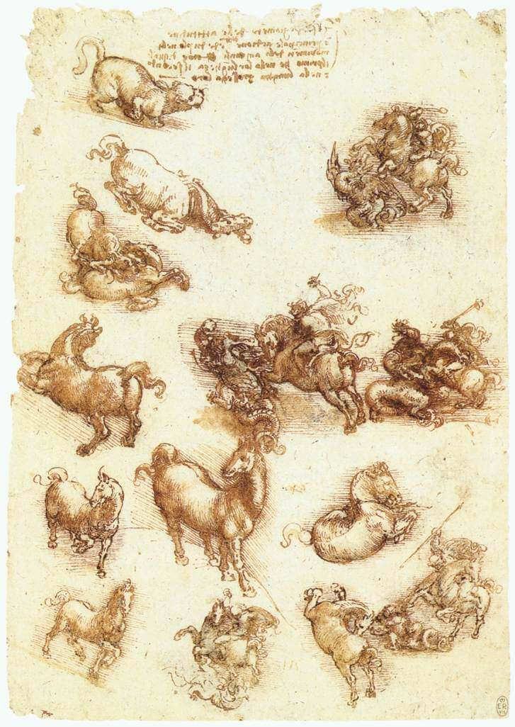Study sheet with horses - by Leonardo da Vinci