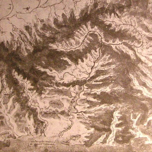 Topographical drawing of a river valley - by Leonardo da Vinci