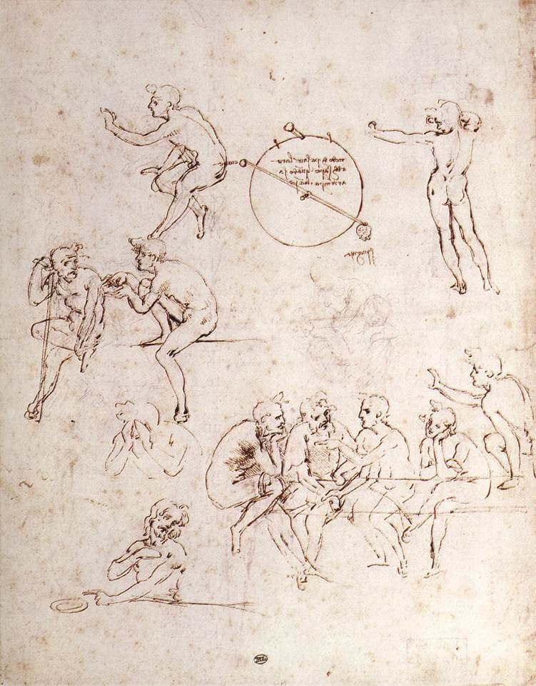 Various figure studies - by Leonardo da Vinci