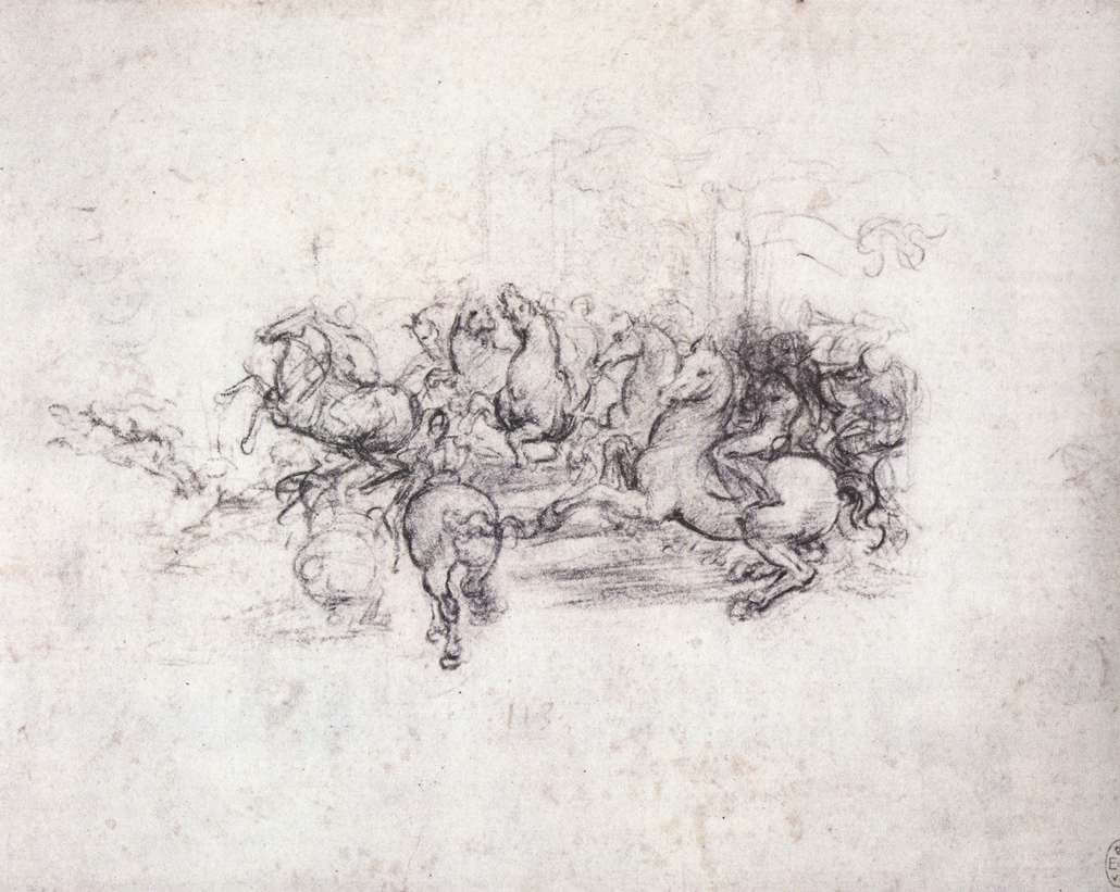 Group of riders in the Battle of Anghiari - by Leonardo da Vinci