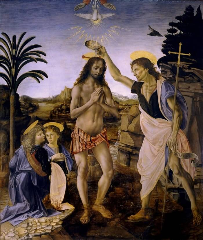 the baptism of christ by leonardo da vinci