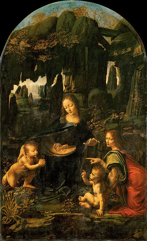 The Virgin of the Rocks, Louvre version - by Leonardo Da Vinci